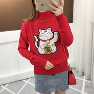 网红同款招财猫半高领针织衫