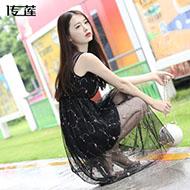 韩版收腰显瘦网纱刺绣无袖裙