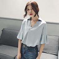 韩版V领喇叭五分袖雪纺