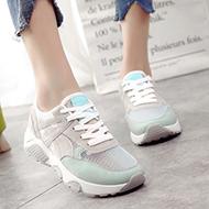 韩版平底牛皮运动跑步鞋