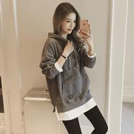 韩版中长款卫衣外套假两件