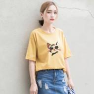 韩版卡通英文字母印花T恤