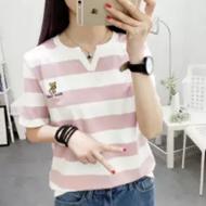 V领条纹短袖T恤