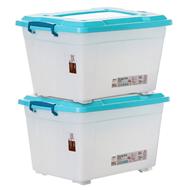 禧天龙塑料收纳箱带滑轮2个装58L