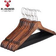 10只装复古实木衣架防滑无痕衣服架