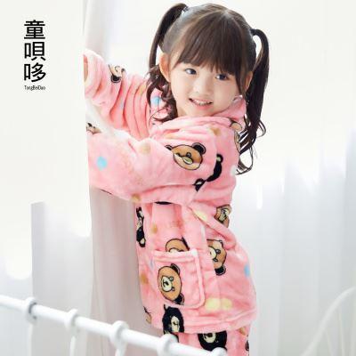 秋冬季男女童法兰绒儿童睡衣套装