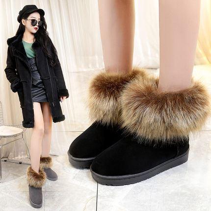 冬季新款加绒加厚狐狸毛雪地靴