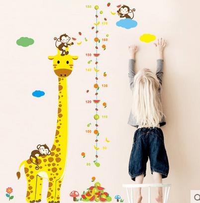卧室客厅贴纸长颈鹿身高贴