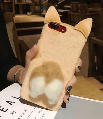 可爱毛绒柯基犬屁股苹果6/7/8/x手机壳