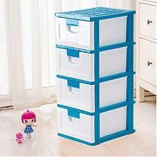 禧天龙学院风塑料四层收纳柜 蓝白色