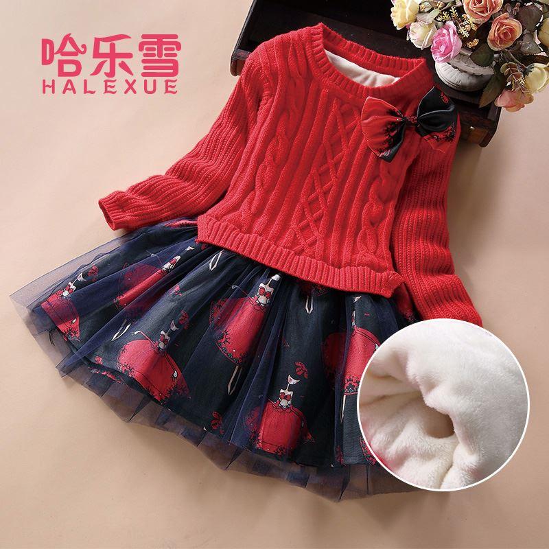 儿童打底毛衣针织公主蓬蓬裙