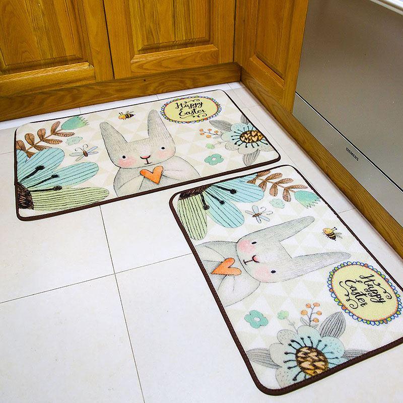爱心兔子防滑垫长条地毯