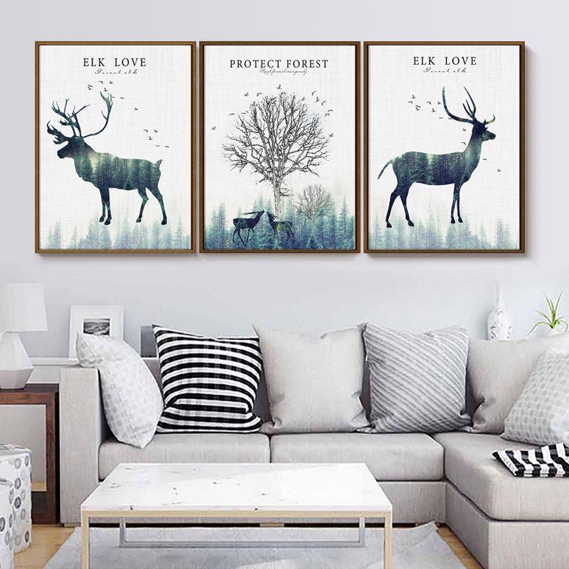 客厅装饰画北欧现代简约沙发背景墙图片