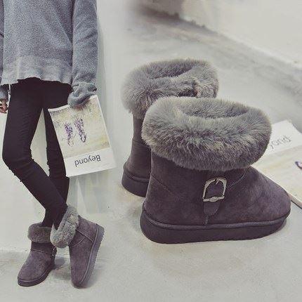 妙钻冬新款兔毛加绒中筒雪地靴