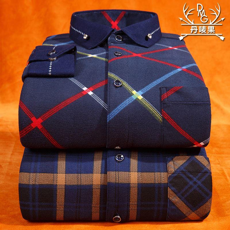 丹唛果男士冬季加绒保暖格子衬衫