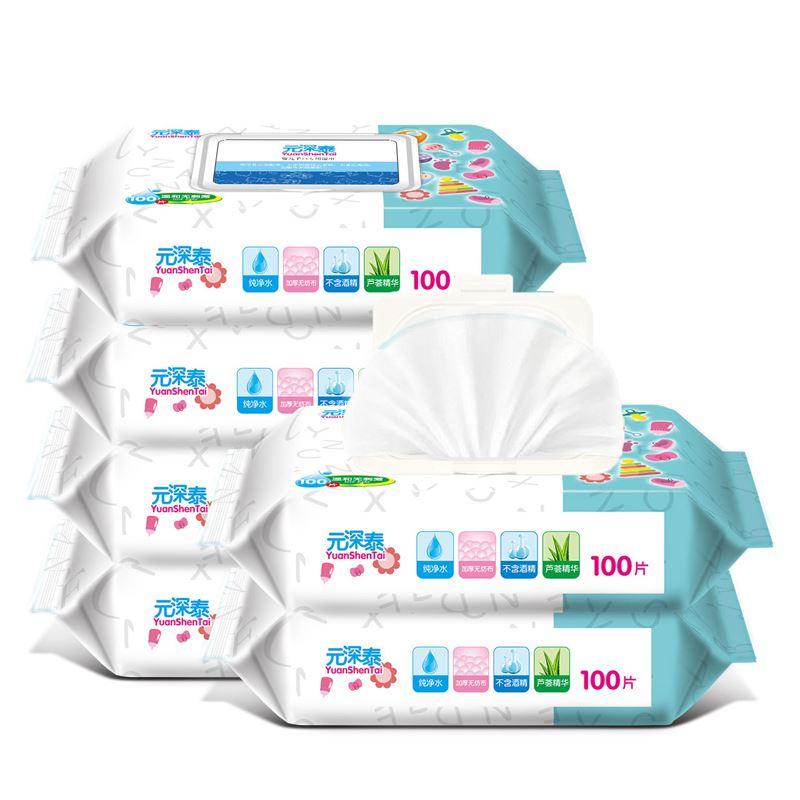 元深泰带盖婴儿湿巾100抽6大包