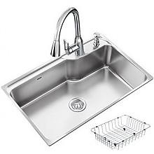 再特价:MOEN 摩恩 304不锈钢单槽水槽套装 抽拉厨房水龙头