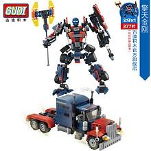 古迪拼装积木玩具 变形机器人金刚汽车 男孩玩具 擎天金刚377片 8713