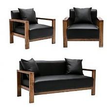 择木宜居实木组合沙发 皮艺黑色(单人位*2 双人位*1)