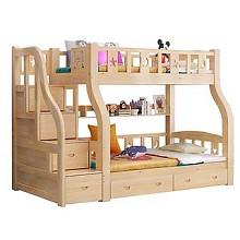 古韵金辉梯柜款松木高低子母床