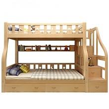 古韵金辉 梯柜款 松木高低子母床 上铺1.3m 下铺1.5m