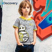 Discovery旗舰男童连帽机器人T恤