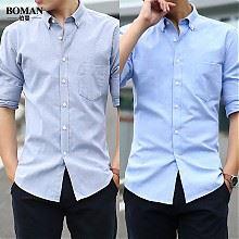 伯曼男士津纺长袖衬衫2件装