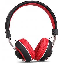 JBU 头戴式可折叠手机音乐耳机 黑红色