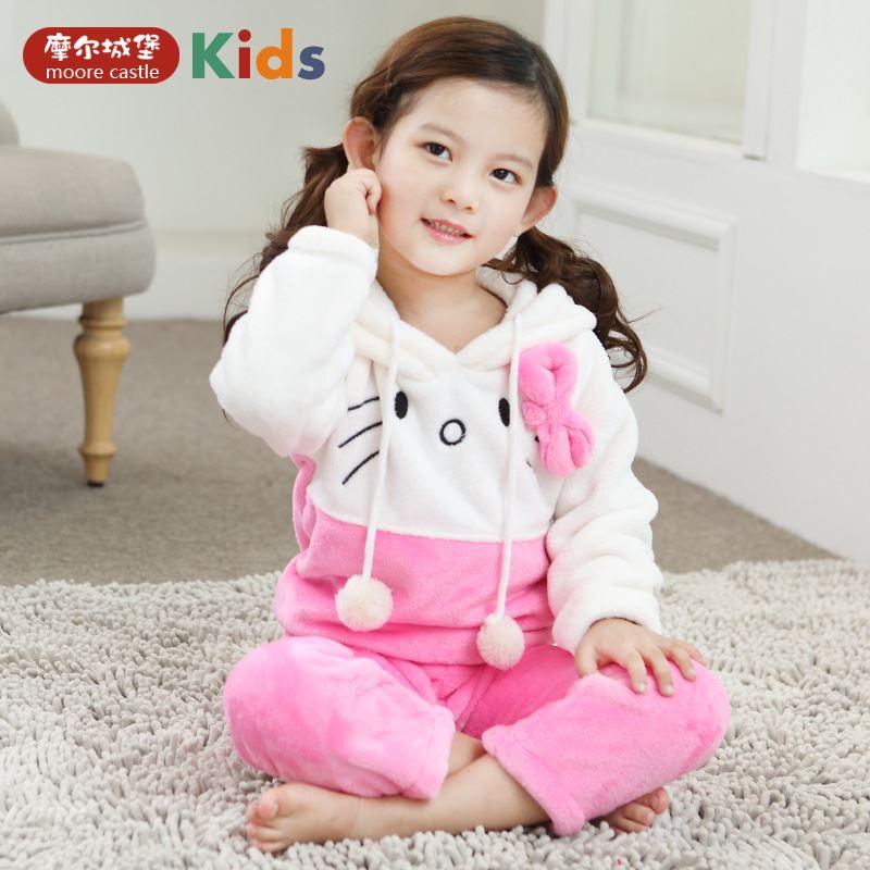 法兰绒1-3周岁女童居家睡衣套装