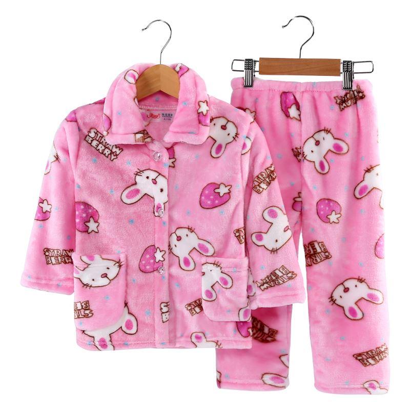 儿童法兰绒睡衣家居服珊瑚绒套装