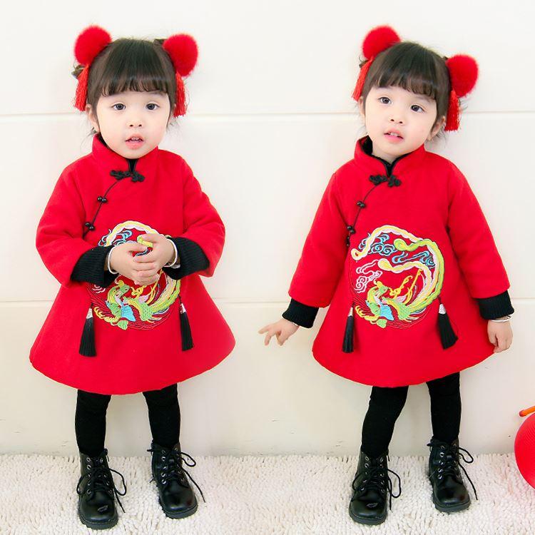 冬季中国风过年女宝宝棉服