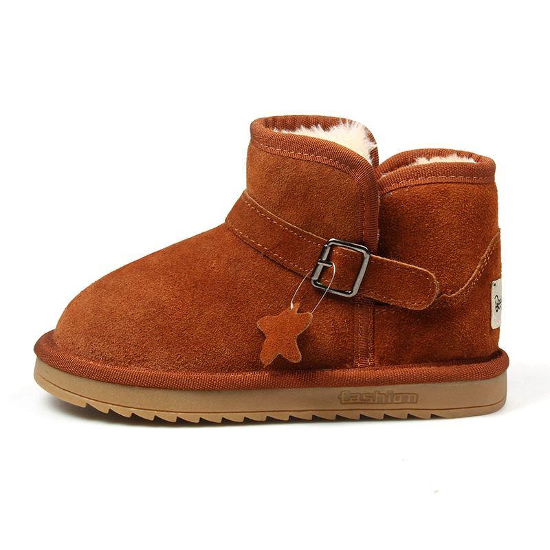 新款真皮儿童雪地靴